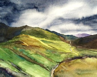Lake District, landscape painting, English countryside, Newlands pass, Buttermere, Cumbria, landscape watercolor, Storm over hills, stormy