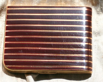 Vintage Elgin American Art Deco Maroon and Gold Striped Compact