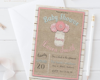 Mason Jar Baby Shower Invitation / Digital Printable Birthday Invite / DIY Rustic Party Invitation