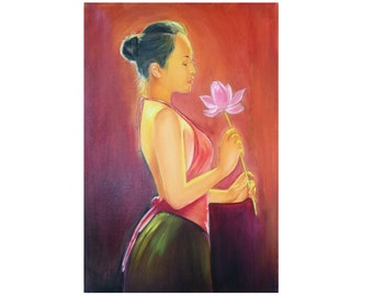 Chinese Woman Romantic oil painting Art on Canvas for Bedroom Original Orchid Painting Red Figurative chinese wall Art  oil on canvas