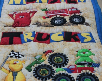 Quilted Wall Hanging Monster Trucks