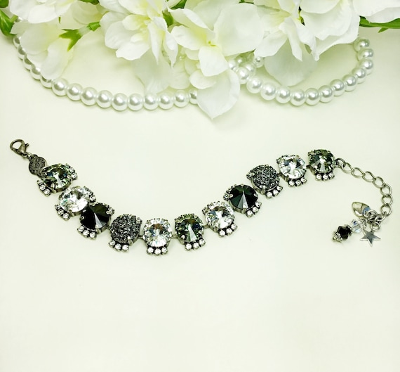 Swarovski Crystal 12MM Bracelet with Halo, B&W with Pizzaz - Designer Inspired - Jet, Black Diamond, Crystal and Faux Druzy - FREE SHIPPING