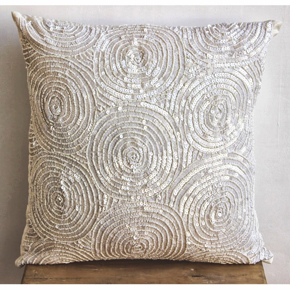 Designer Ivory Pillow Covers 18x18 Silk Throw