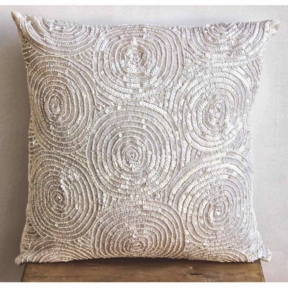 Designer Ivory Pillow Covers 16x16 Silk Throw