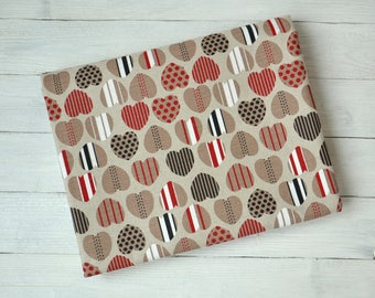 Linen and cotton blend fabric with hearts print, Fabric by the half meter, Linen cotton canvas 240 GSM, Linen for sewing, Hearts fabric