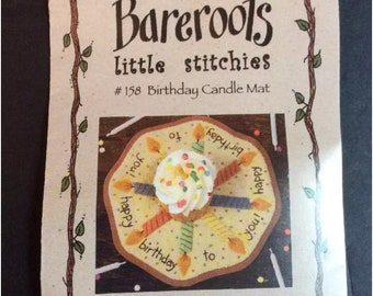 Bareroots Little Stitchies #158 Birthday Candles Cake Candle Mat Confetti Chart