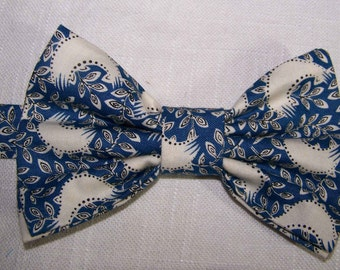 Blue Bow Tie - Downton Abbey Designer Fabric -  Men's Bow Tie - Cotton