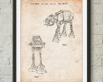 Star Wars AT-AT Imperial Walker Patent Poster, Empire Strikes Back, Star Wars Wall Decor, Starwars Art, Movie Wall Art,  PP0146