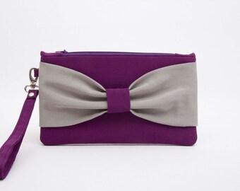 SALE -Bow wristlet  clutch,bridesmaid clutch gift idea  ,wedding gift, purple grey bow clutch