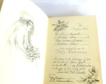 ON SALE 1930 Wedding Memory Book - Bridal Memories - Diary of a Wedding - 1930s Completed Wedding Journal - Guest Book