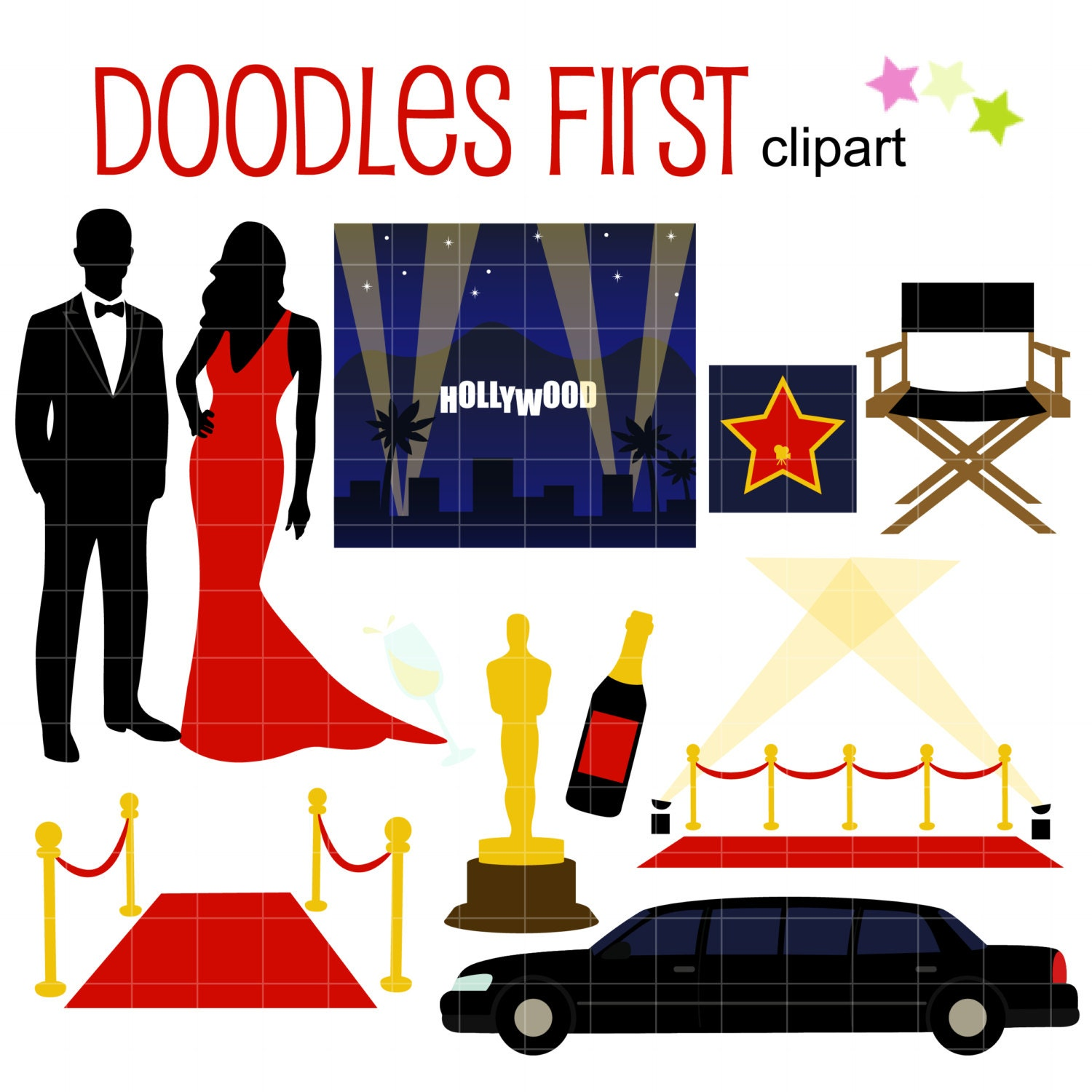 hollywood awards night gala digital clip art for scrapbooking rh etsy com sci-fi hollywood studios clip art hollywood clip art borders