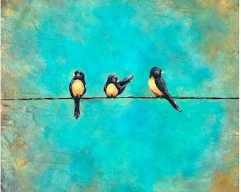 Robins wall art, birds on a wire art, robins painting by artist Nancy Quiaoit.