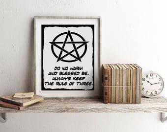 Pentagram Home Decor, Wiccan Home Decor, Occult Home Decor, Do No Harm,