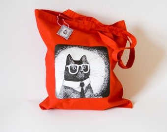 Working Mr Cat Reusable shopping tote bag in red