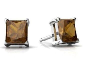 14Kt White Gold Natural Smoky Quartz Princess Cut Stud Earrings