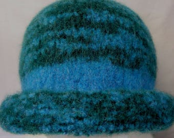 Hat Wool Felted EvergreenAqua Mix with Aqua Band and Rolled Brim
