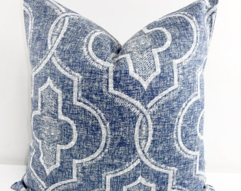 Vintage Indigo Pillow Cover. Faded Damask New port. Cotton. Indigo and white Sham Pillow case.Select your size.