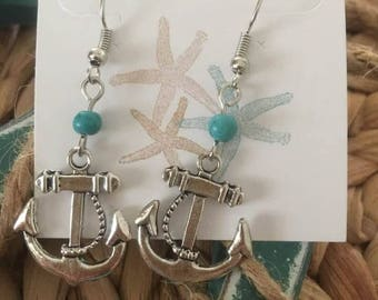 Anchor  turquoise bead drop Earrings,Nautical Earrings,Coastal Earrings
