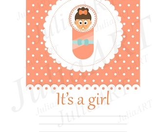 cartoon baby card vector Its a girl vector image