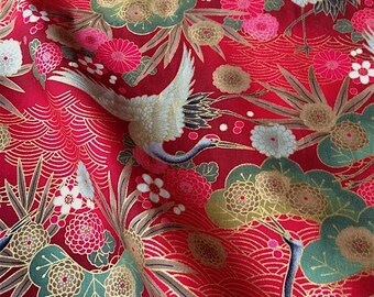 Japanese fabric, crane, a red background 110 x 50 (172D)