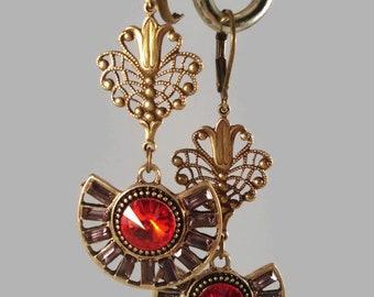 Red Rhinestones Earrings Art Deco Inspired Gift For Her