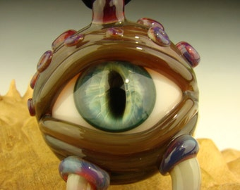 GLASS Horny Eye Pendant Lampwork Borosilicate Creature Focal Bead or Oil Dabber by K Talamas (made to order)