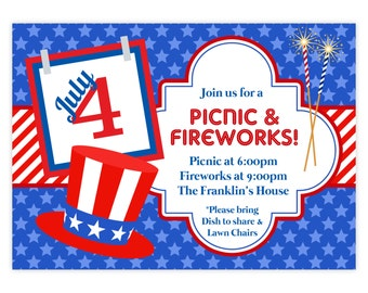 4th of July Invitation - Red White Stripes, Blue Stars, July 4th BBQ Picnic Fireworks Personalized Party Invite - a Digital Printable File