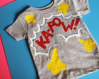 KA-POW!  - 18-24 Months Child's T-Shirt - Creations of Grace 100% Cotton Kid's Gray T-Shirt - Fun Based Child's Shirt - Small Beans Wear