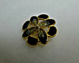 6 enamel, metal,  black, gold, buttons, 22 mm