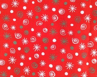 SALE - One Half Yard of fabric - Christmas Swirls and Dots