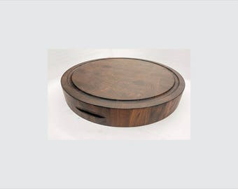 Round End Grain Cutting Board Black Walnut