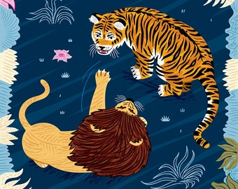 Rumble In The Jungle - Lion and Tiger art poster print by Oliver Lake - iOTA iLLUSTRATiON