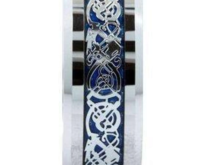 8 mm Blue Celtic Dragon inlay Tungsten Carbide Ring Wedding Band His & Her Unisex Comfort Fit