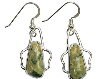 Earrings, Rainforest Jasper Dangle Earrings Set in Sterling Silver  erfje2964