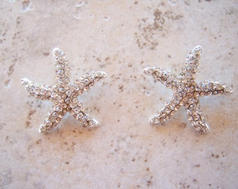 2 pieces:  Clear Rhinestone & Metal Starfish Button with Shank - Cabochon
