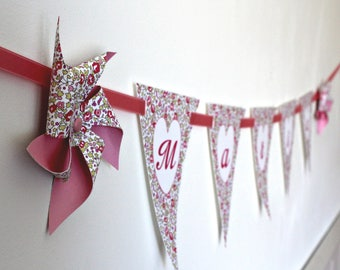 Custom Garland windmills with flags in liberty Eloise pink