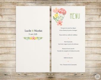 Collection - Menu - botanical wedding invitation