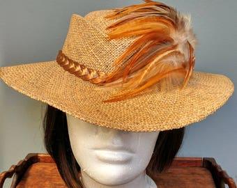 Vintage 70s Straw Feathered Hat // Costume // Festival Sun Hat // 1970s Boho Fashion