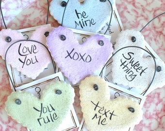 Sweetheart Message Mini Heart Valentine's Day Salt Dough Napkin Rings Set of 6
