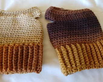 Brown Multi-Toned Fingerless Gloves
