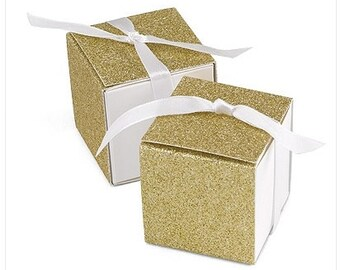 Gold Glitter Wrap Favor Boxes (Pack of 25) Wedding Favors