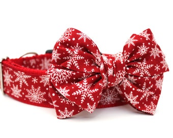 Dog Collar Bow Add-On Christmas Bow for Dogs Matching Dog Bow Dog Collar Red Dog Bow Girl Dog Bow