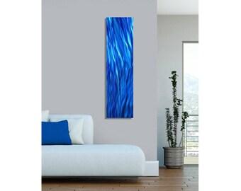Bright Blue Ocean Inspired Modern Metal Wall Art - Handmade Abstract Painting - Nautical Metal Wall Sculpture - Aqueous Flow by Jon Allen