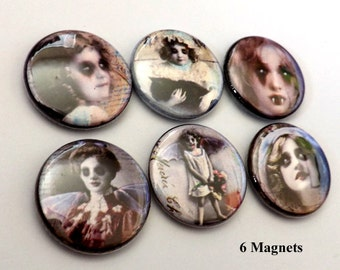 Creepy Faces Goth Horror Macabre refrigerator MAGNETS scary vampire children kids halloween flair stocking stuffer party favors decor gifts