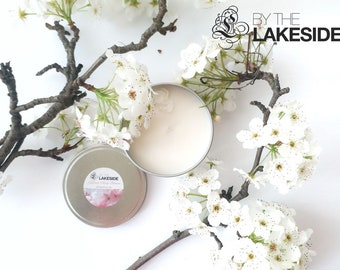 Japanese Cherry Blossom: 8 oz Re-usable Silver Tin. Natural Soy Wax Candle.