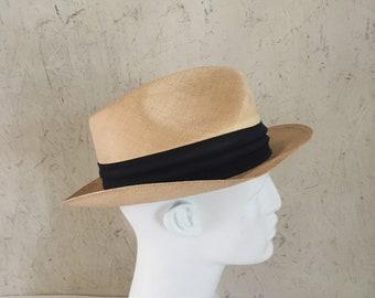 Vintage 50s 60s Italian Bianchi Genuine Panama Hat Straw Fedora Size 7
