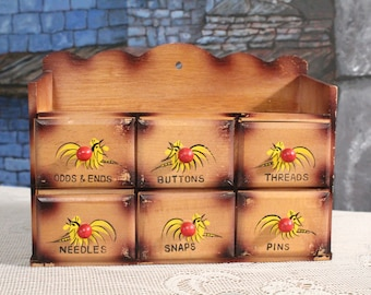 Vintage 1950's wooden Sewing Wall Box Cabinet draws with rooster design millinery needlecraft storage odd and ends