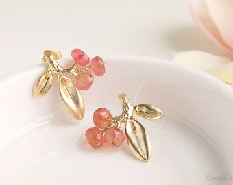 Pink & Gold Leaf Earrings, Gemstone Stud Earrings, Pink Chalcedony Earrings, Unique Wedding Jewelry, Bridesmaid Gifts