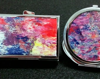 AL. Purse accessories, 2 piece set, mirror compact, pill box, acrylic skins, gift for her, pocketbook, makeup, Free Shipping