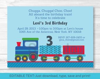 Choo Choo Train Birthday Invitation / Train Birthday Invite / 1st Birthday / 2nd Birthday / Any Age / INSTANT DOWNLOAD Editable PDF A252